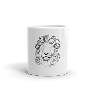 the lion mug; lion with hair rollers; lion with hair curlers