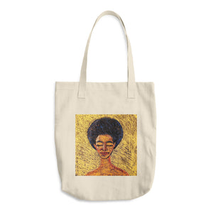 the crown afro woman tote bag