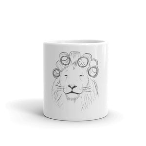 lion in hair rollers coffee mug