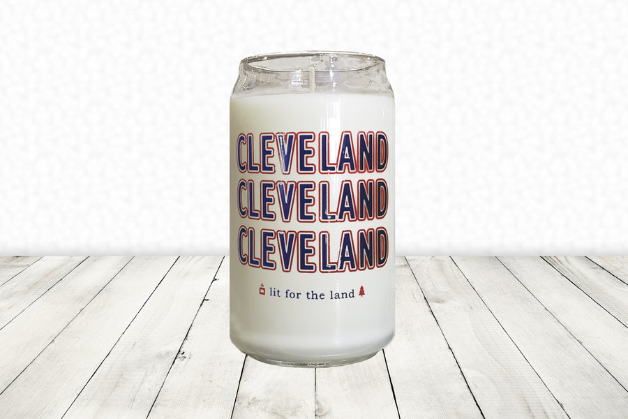 16oz Cleveland Glassware Candle - Navy and Red