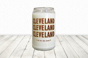 16oz Cleveland Glassware Candle - Red & Gold