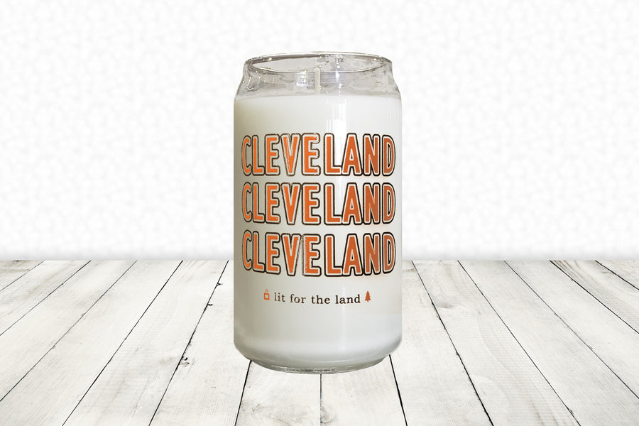 16oz Cleveland Glassware Candle - Brown & Orange
