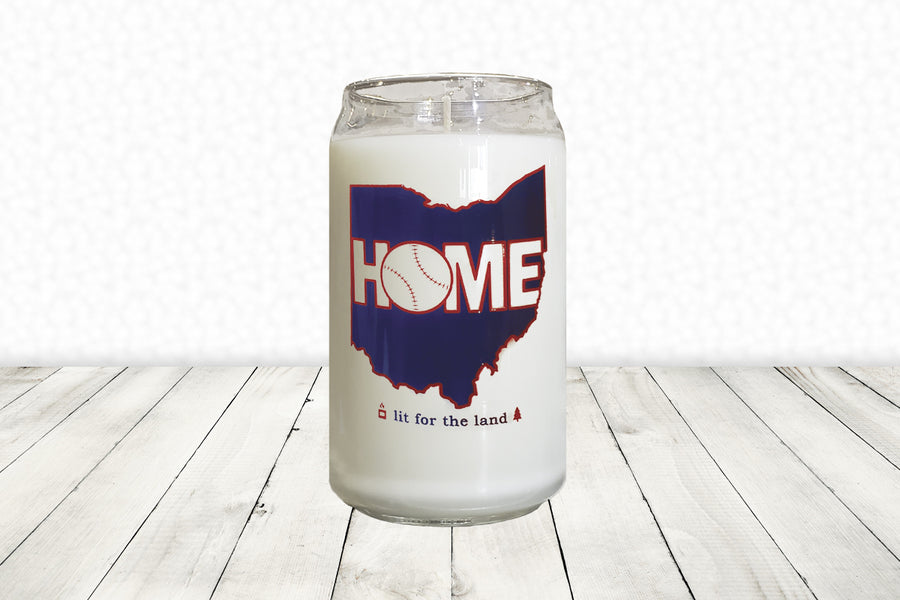 16oz Cleveland Glassware Candle - Baseball