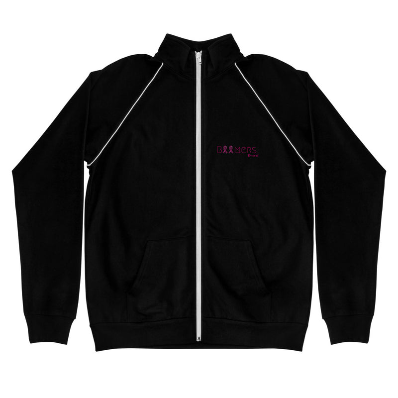 Pink Awareness Ribbon Piped Fleece Jacket
