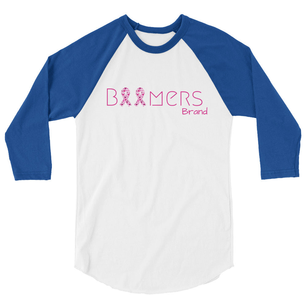 Pink Awareness Ribbon 3/4 Sleeve Raglan