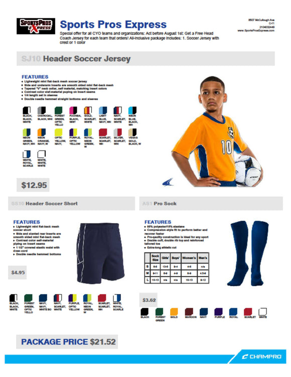 Fall Soccer package: shirt, shorts & socks