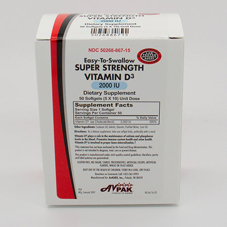 AvPAK Super Strength Vitamin D-3 2000IU 50 Soft Gels