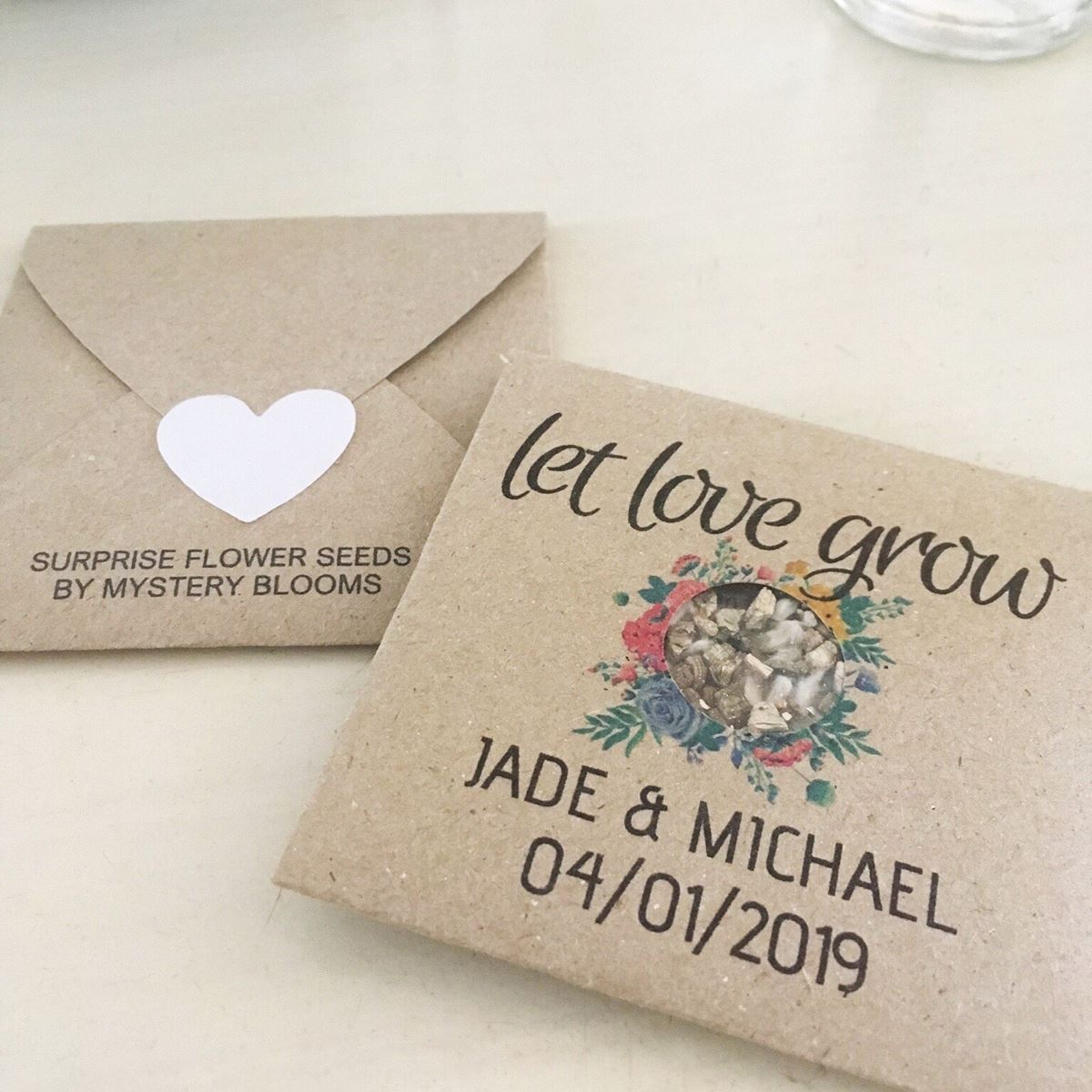 Jade and Michael Personalised seed favour