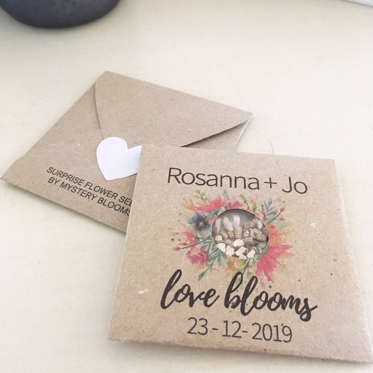 Rosanna and Jo Personalised seed favour