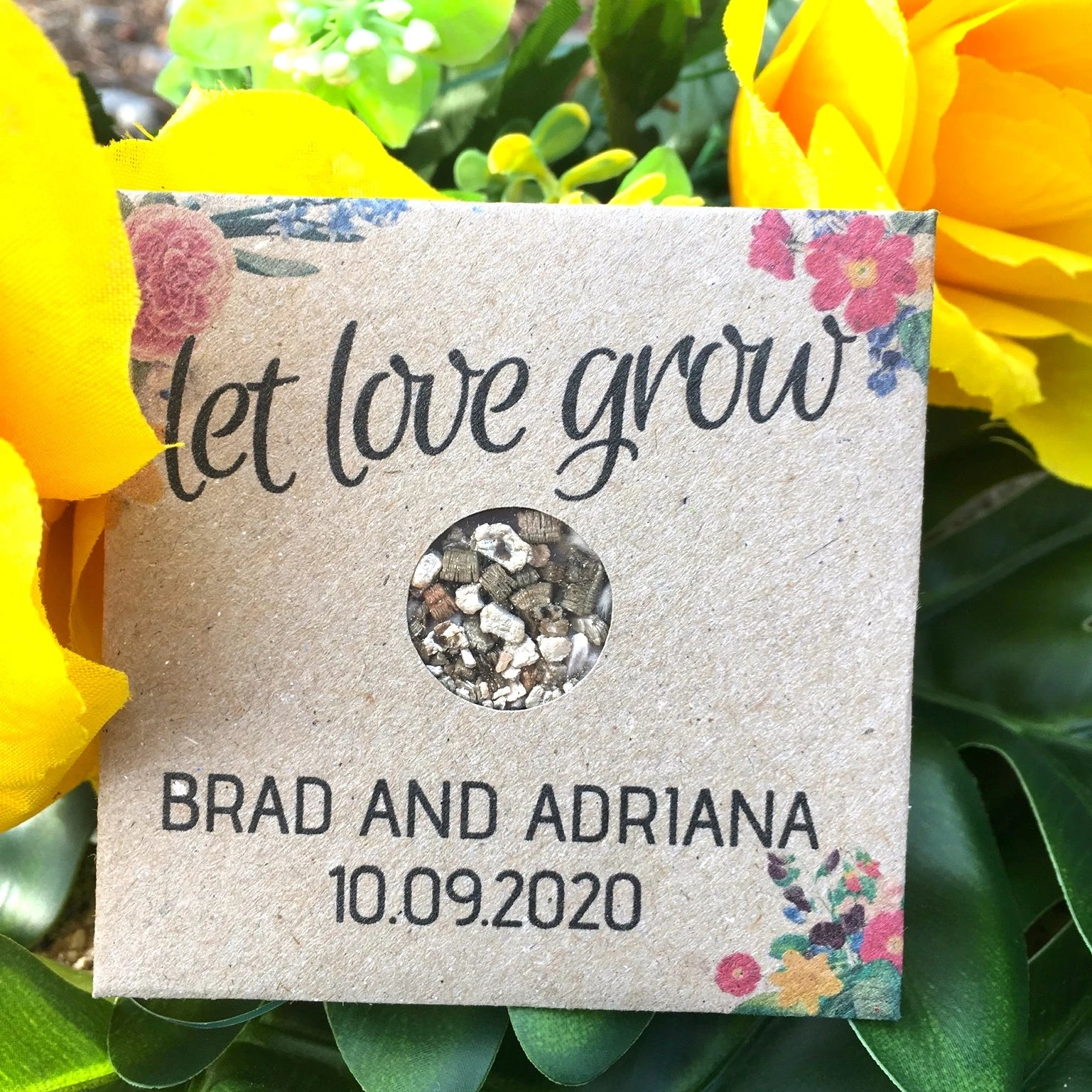 Brad and Adriana Personalised seed favour
