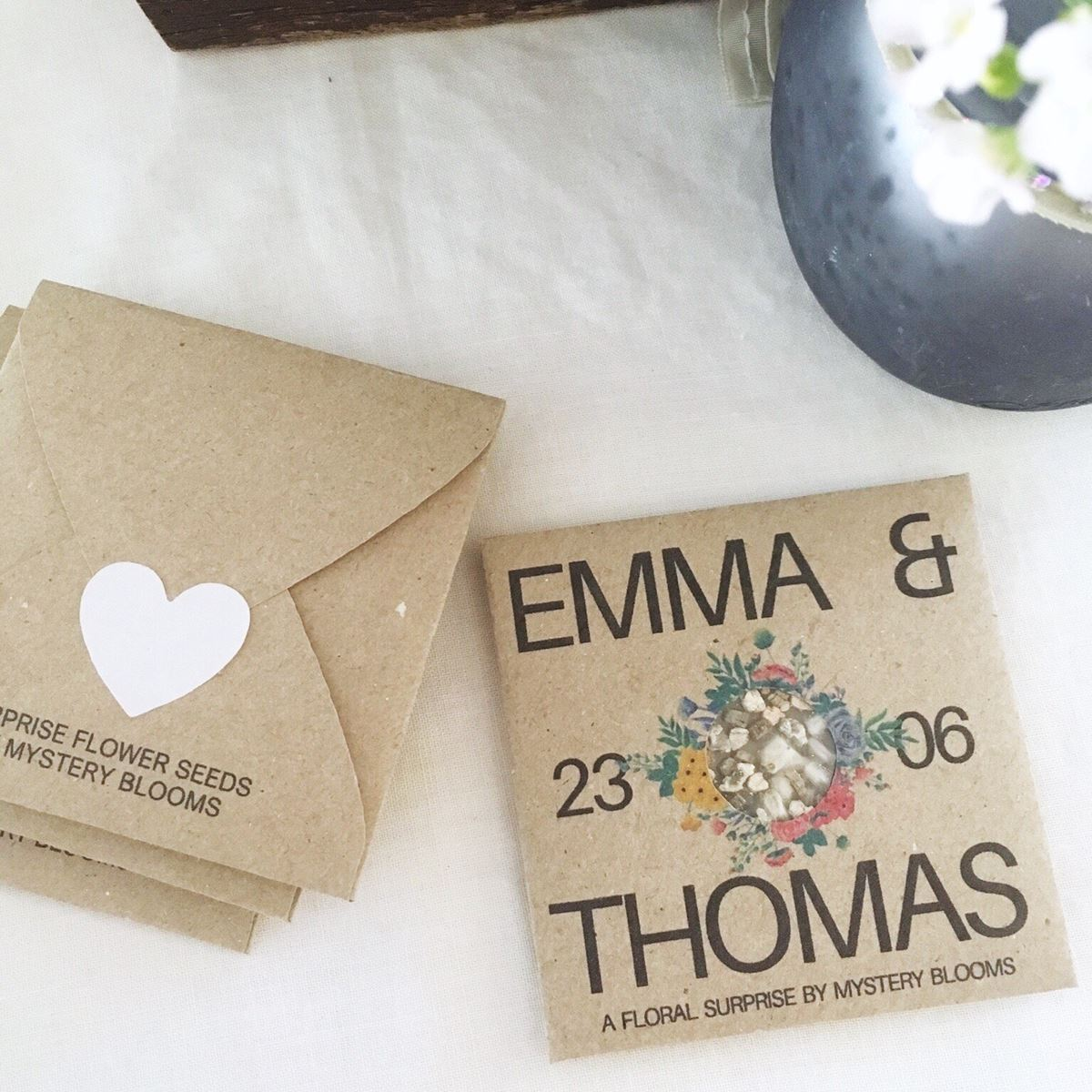 Emma and Thomas Personalised seed favour