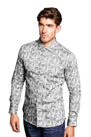 Long Sleeved Shirt with Grey Pattern