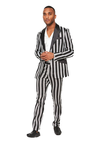 Man Wearing a Striped Suit