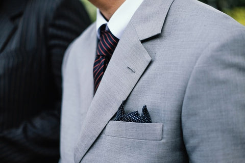 Grey Suit with Pocket Square and Tie