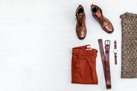 Sweater, chinos, boots, and acessories