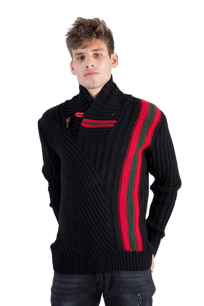 BARABAS Men's Knit Stripped Mock Neck button Closure Black Sweater W126