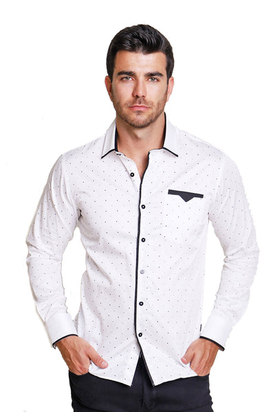 BARABAS Men polka dotted white navy black button down dress Shirt B8521