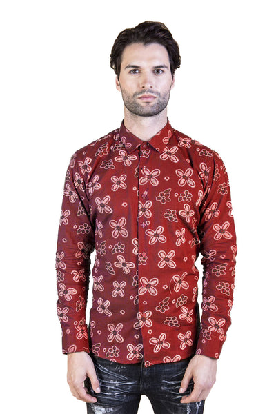 BARABAS men's four petal flower printed button down red shirts B8535