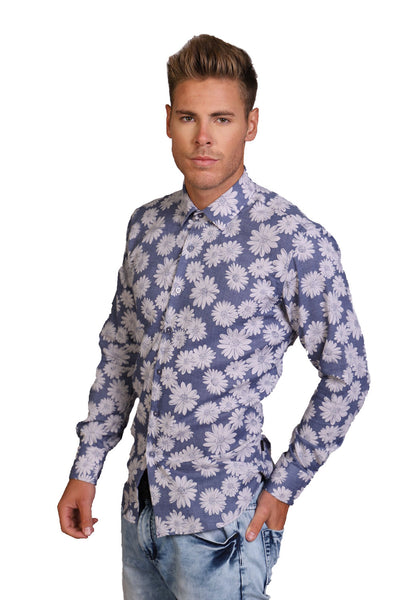 BARABAS men's floral blossom printed blue button down dress shirts B8513