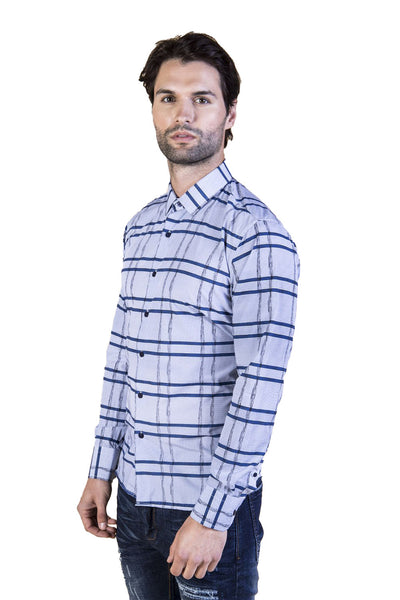 BARABAS Men's Striped Checkered Long Sleeve Shirt B8523 Blue