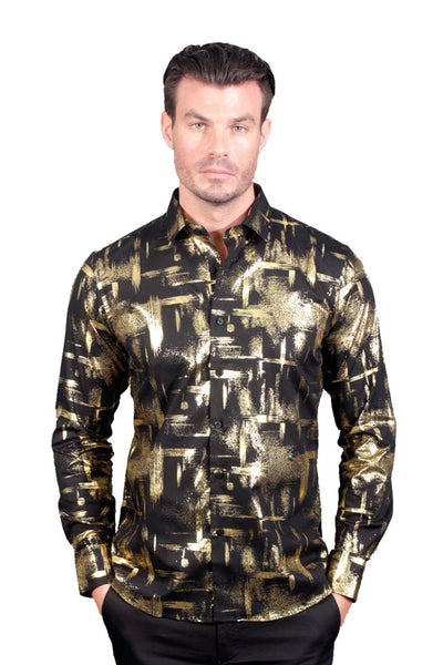 BARABAS Men's Abstract Design Black Gold Dress Shirt B9090