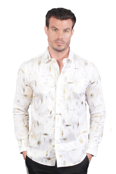 Metallic Print Shirt  Element B9090-W-M White