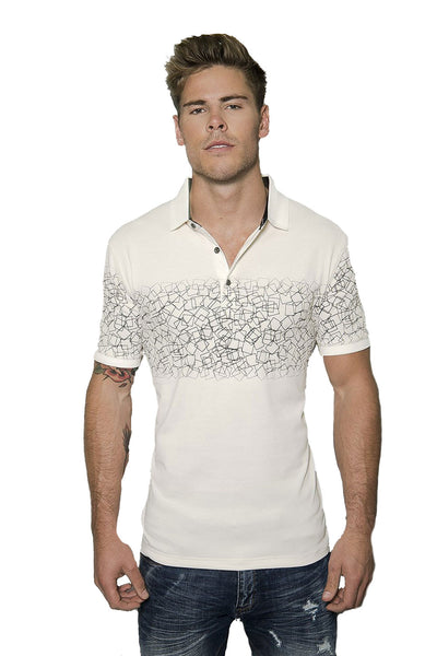 Barabas men's printed geo beige short sleeve polo shirts PP007
