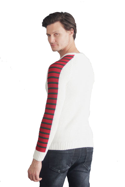 Barabas Men's  Cable knit and Red Taped Design Long-sleeved Sweatshirt  LS-204