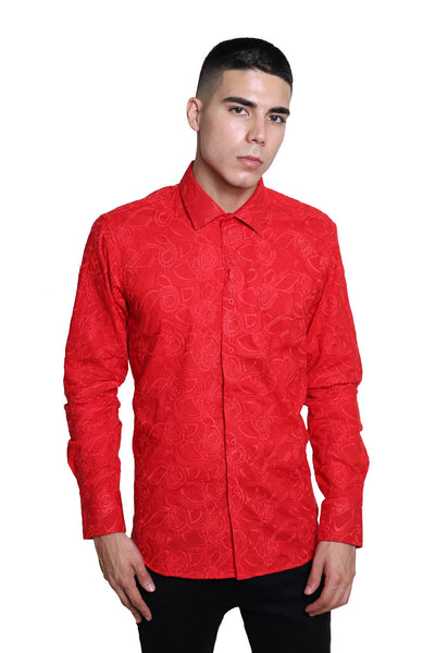 BARABAS Men's Paisley Floral Red Button Down Shirts B50