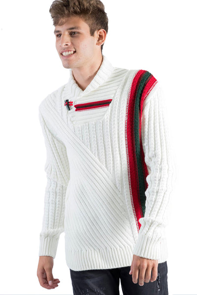 BARABAS Men's Knit Stripped Mock Neck button Closure white sweater W126