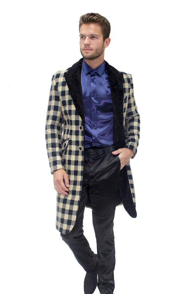 BARABAS men's checkered overcoat black gold with fur collar BL3024