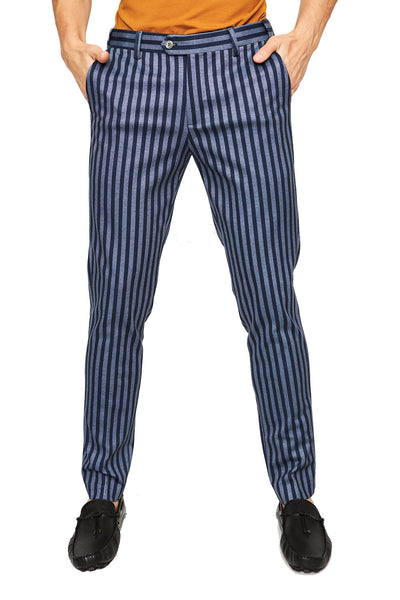 BARABAS Men Pants Stripe Me Down CP34 Navy Blue