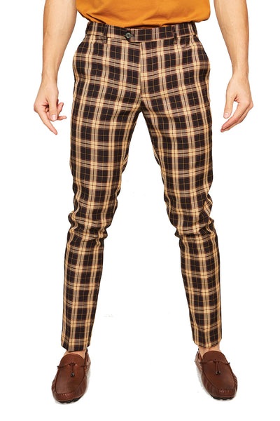 BARABAS men's checkered plaid yellow brown chino pants CP27