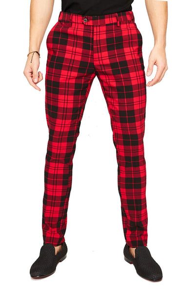 BARABAS Men's Checkered Plaid Pants Black Red CP25
