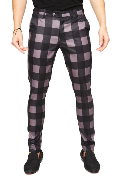 BARABAS men's checkered plaid purple black chino pants CP23