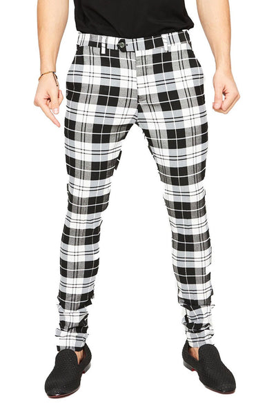 BARABAS Men's Checkered Plaid Pants Black White CP25