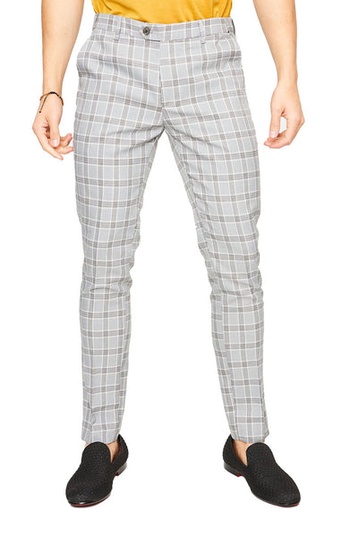 BARABAS Men Pants Max Check - Black/White CP28 Black and White