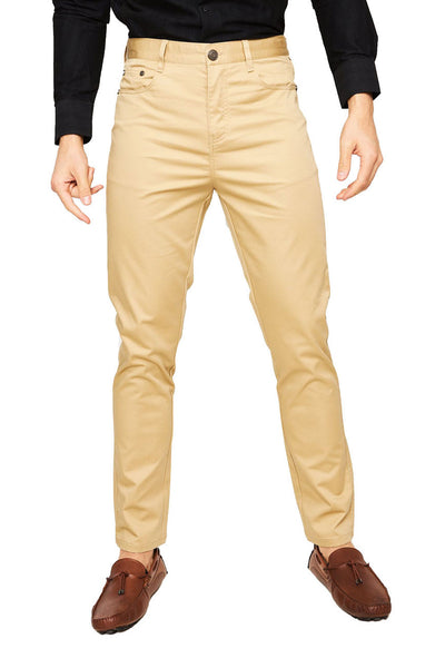 Barabas Men's Solid Color Front Button Fasten Classic Fit Pants B2073  KHAKI