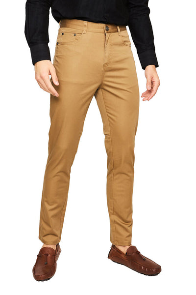 Barabas Men's Solid Color Front Button Fasten Classic Fit Pants B2073  COFFEE