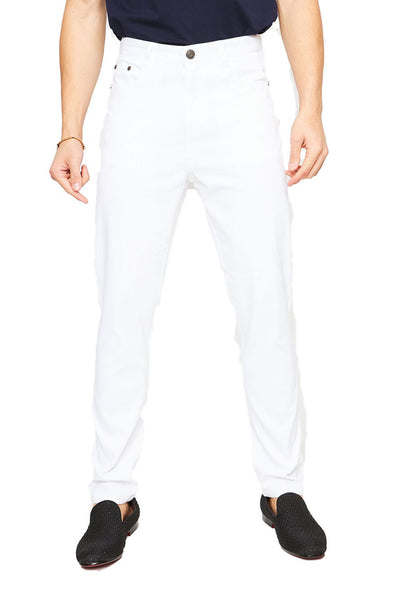 BARABAS Men's Casual Solid Color Straight Fit white Pants B2074