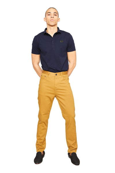 BARABAS Men's Casual Solid Color Straight Fit mustard Pants B2074