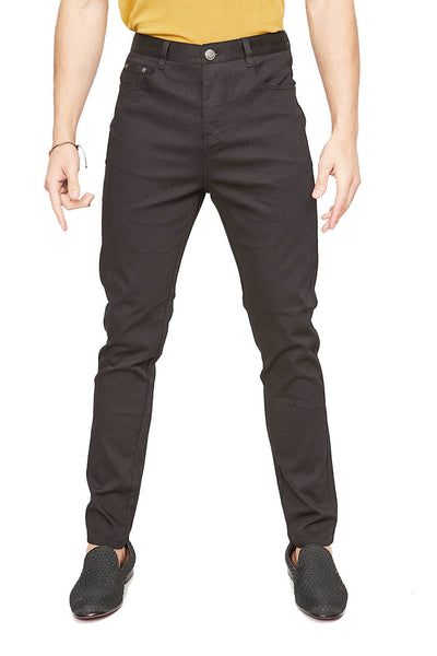 BARABAS Men's Casual Solid Color Straight Fit Black Pants B2074