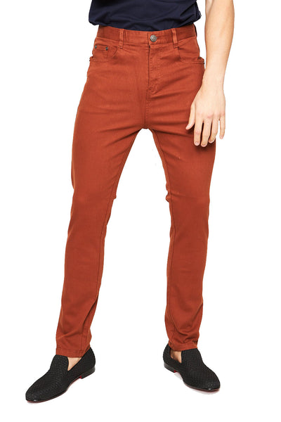 BARABAS Men's solid color brown skinny jeans Pants B2076