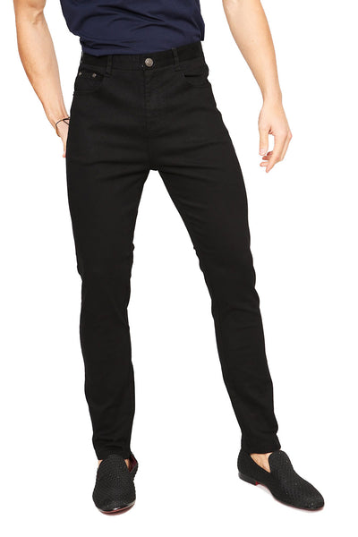 BARABAS Men's solid color Black skinny jeans Pants B2076