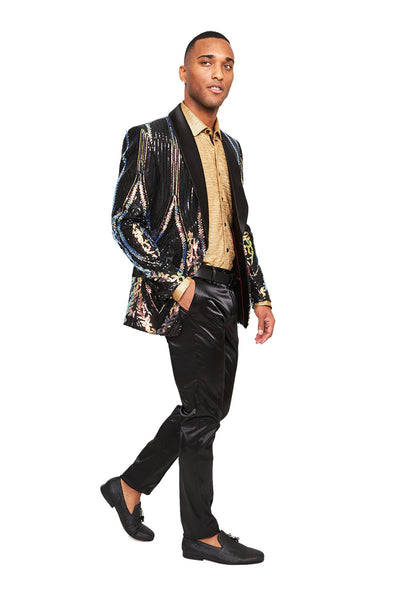 BARABAS Men's Sequin signature shiny Designer Black Blazer BL3053