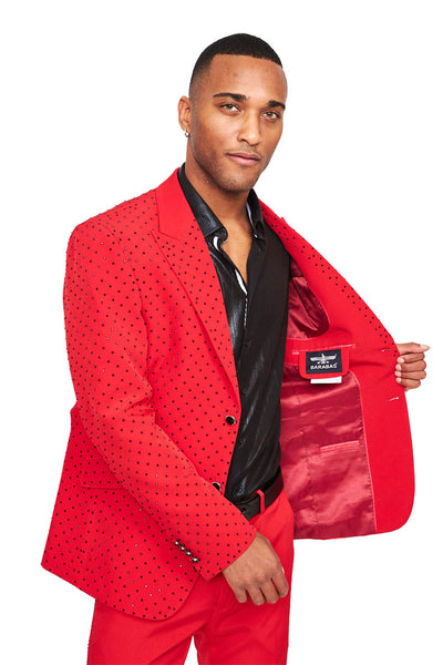 BARABAS men's luxury rhinestone designer red suit SU119