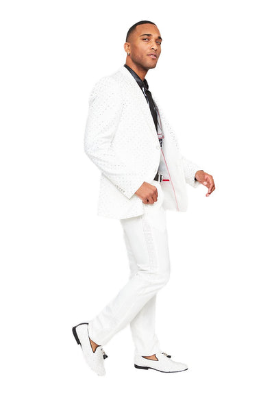 BARABAS men's luxury rhinestone designer white suit SU119