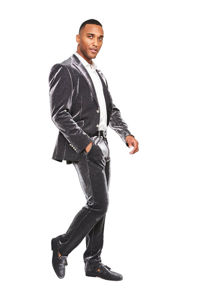 BARABAS Men Blazer Look and Touch- Silver SU118 Silver