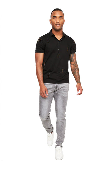 Black T-shirt with Grey Jeans