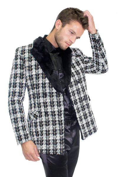 BARABAS men's checkered overcoat black white with fur collar BL3029